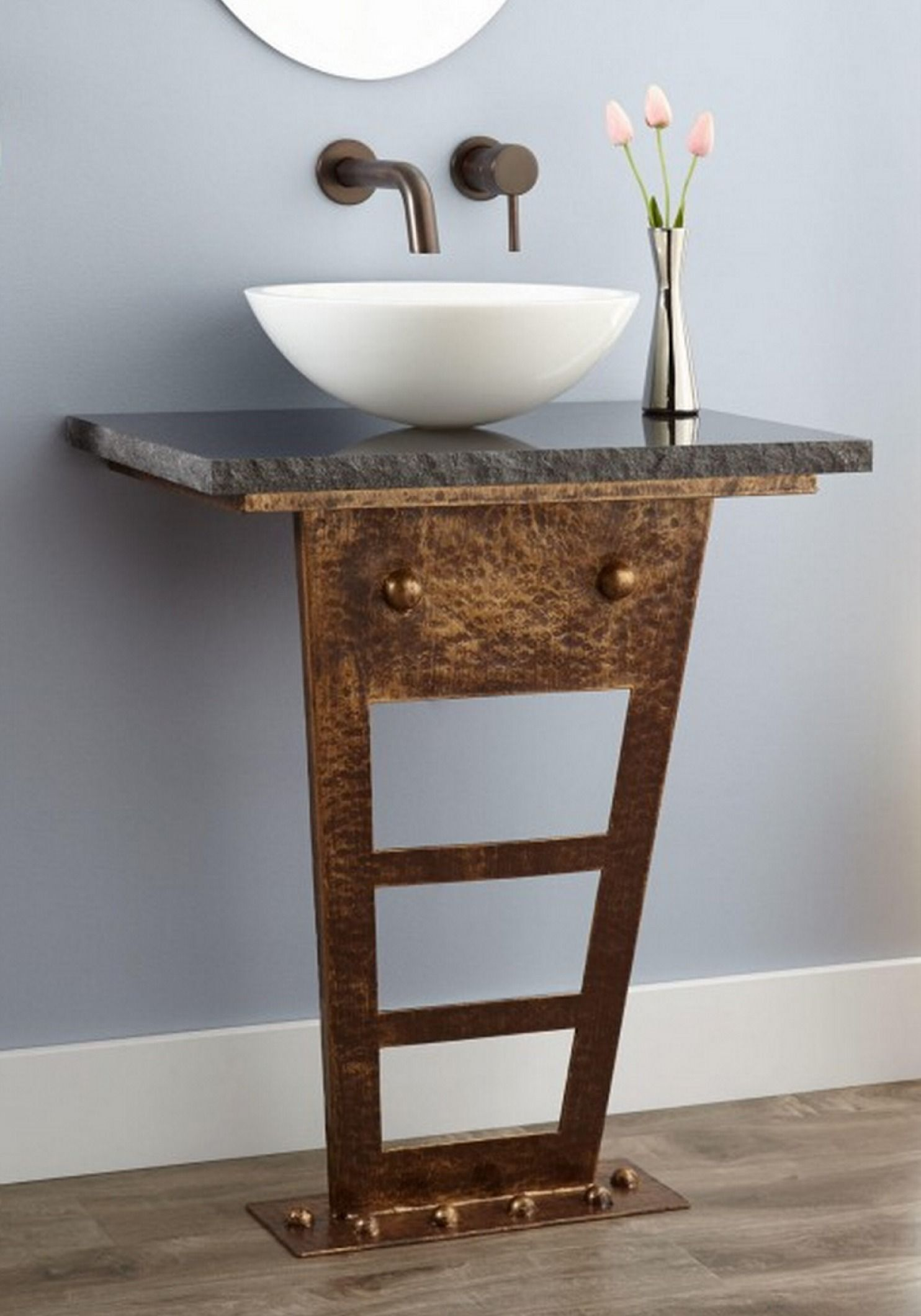 pedestal sink or vanity in small bathroom%0A Zhi WallMount Console Vanity for Vessel Sink