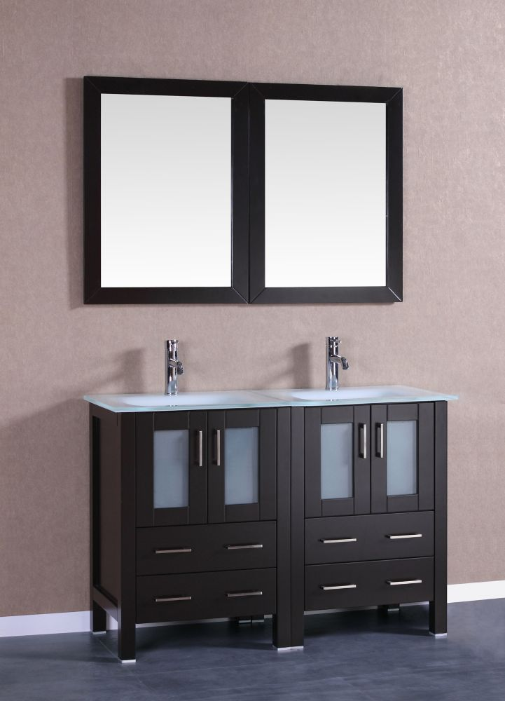 47 Inch W X 18 Inch D Bath Vanity In Espresso With Tempered Glass Vanity Top In White With White Basins And Mirrors With Images Double Vanity Bathroom Vanity Set With