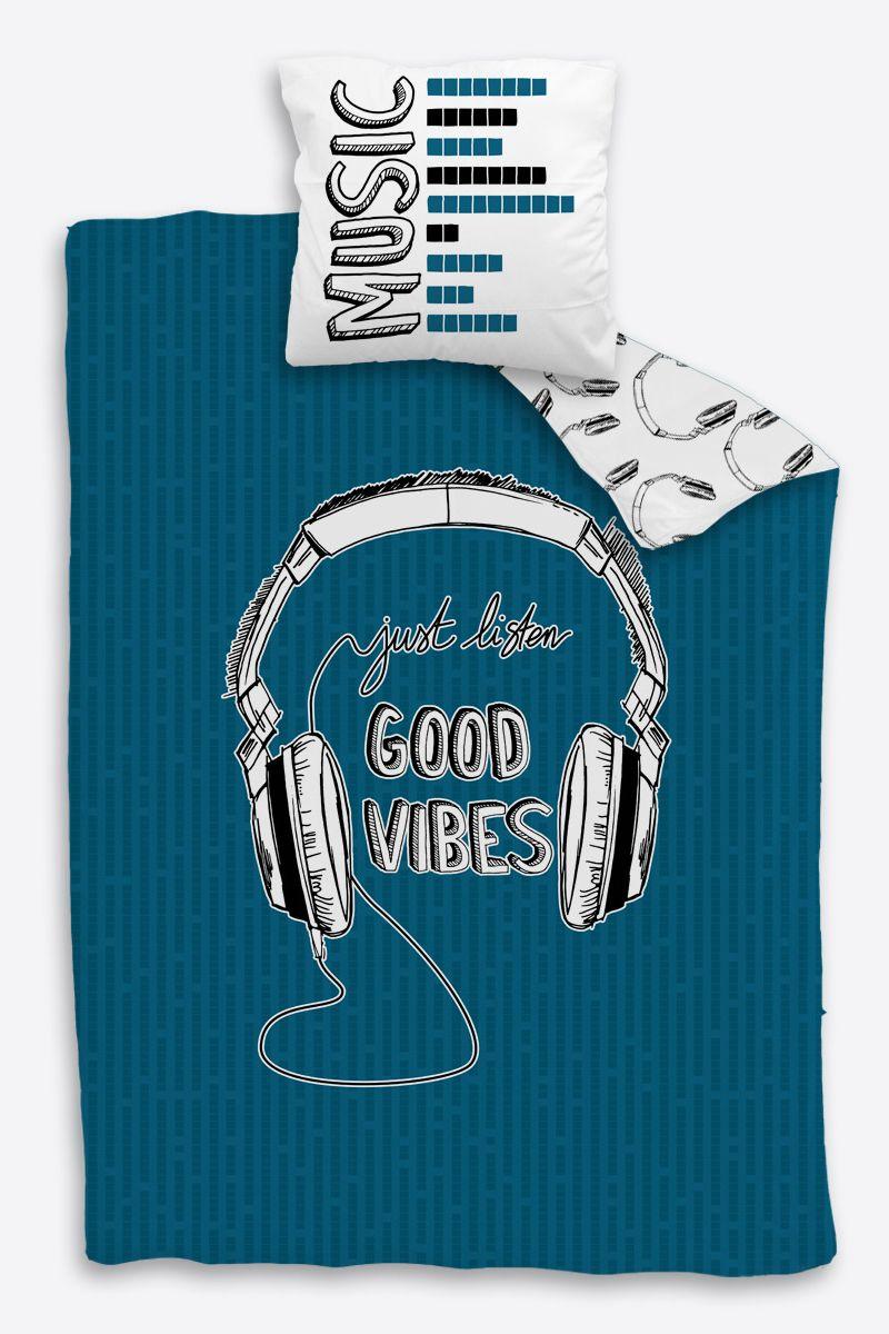 Parure Linge De Lit Rock Noir Et Bleu Casque Ado Garcon Coton Good Vibes Bleu Housse De Couette Ado Housse De Couette Parure De Lit Vintage