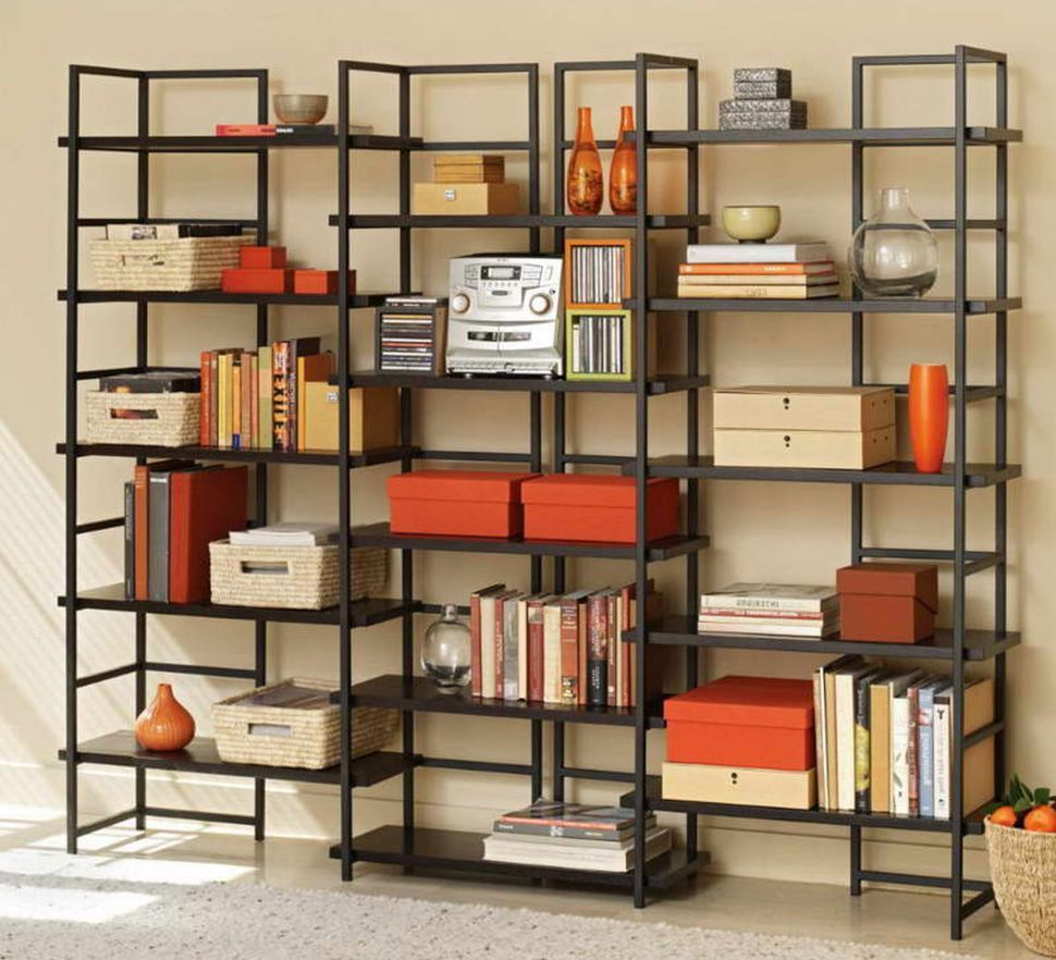 Furniture The Light Space Decorated By The Full Black Open Cube Wall Shelves Ikea With The Books And Colored O Metal Bookshelf Bookshelves Diy Cool Bookshelves