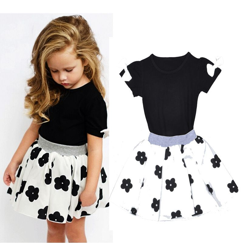 Toddler Kids Baby Girls Off Shoulder Top Mini Skirt Dress Outfits Set Clothes US