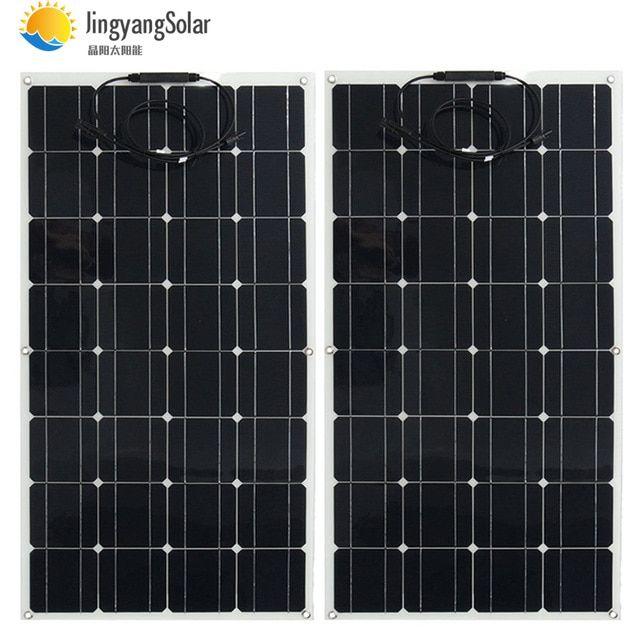 2pcs Semi Flexible Solar Panel 100w 18vdc Battery Charger 12v Solar System Kit 125mm 125mm Monocrystalline Solar Panels Flexible Solar Panels Solar System Kit