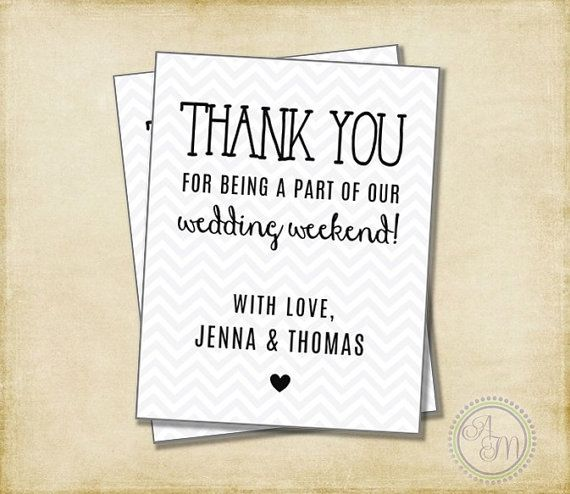 Thank You Note For Wedding Gifts: Wedding Thank You Note, Welcome Bag, Wedding Favor, Hotel