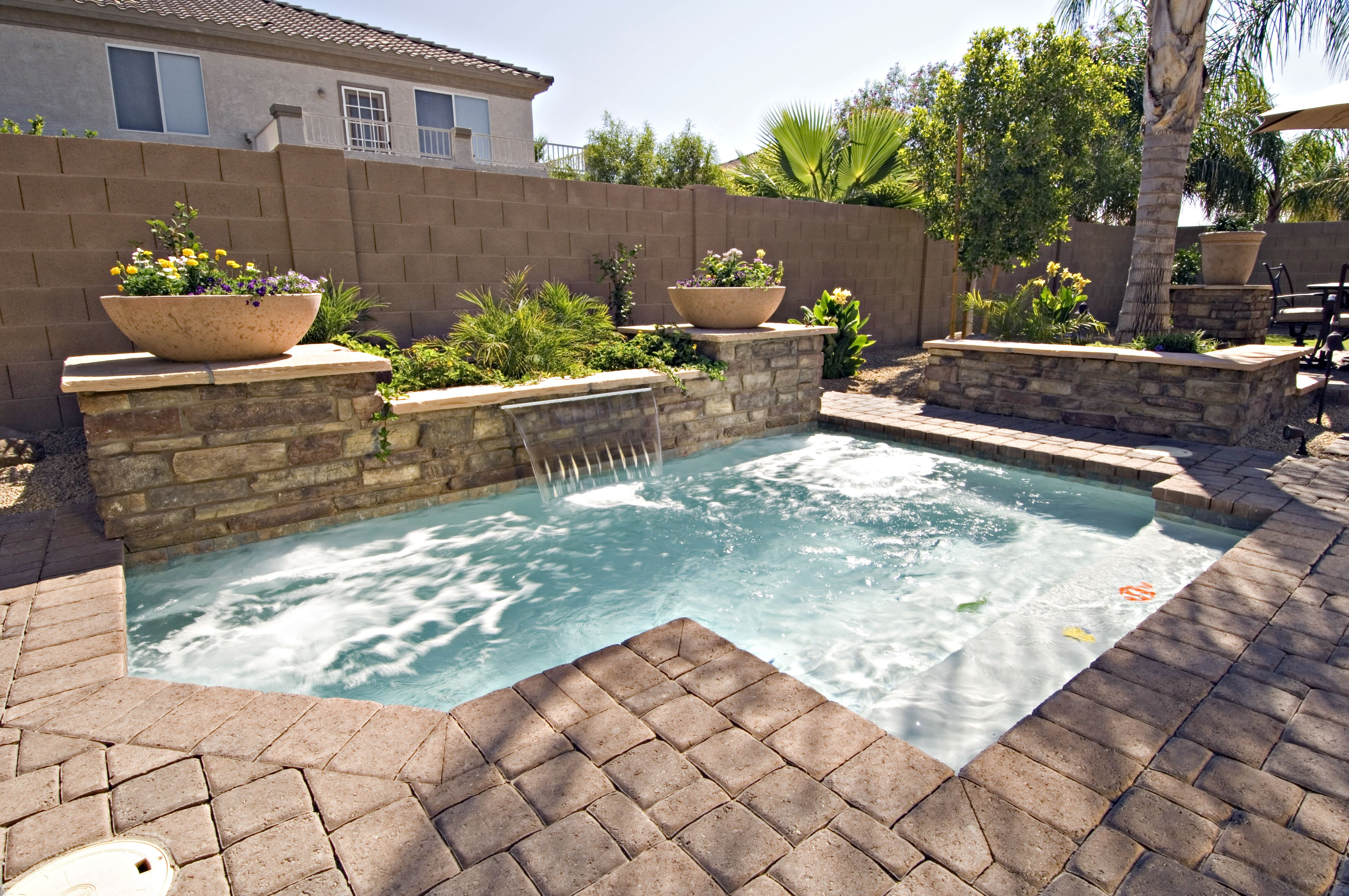 swimming pool with hardscape and landscape ideas | Mosaic ...