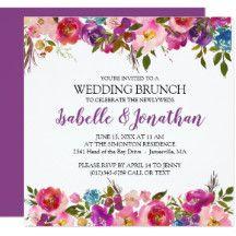 Purple Flowers Summer Wedding Brunch Invitations