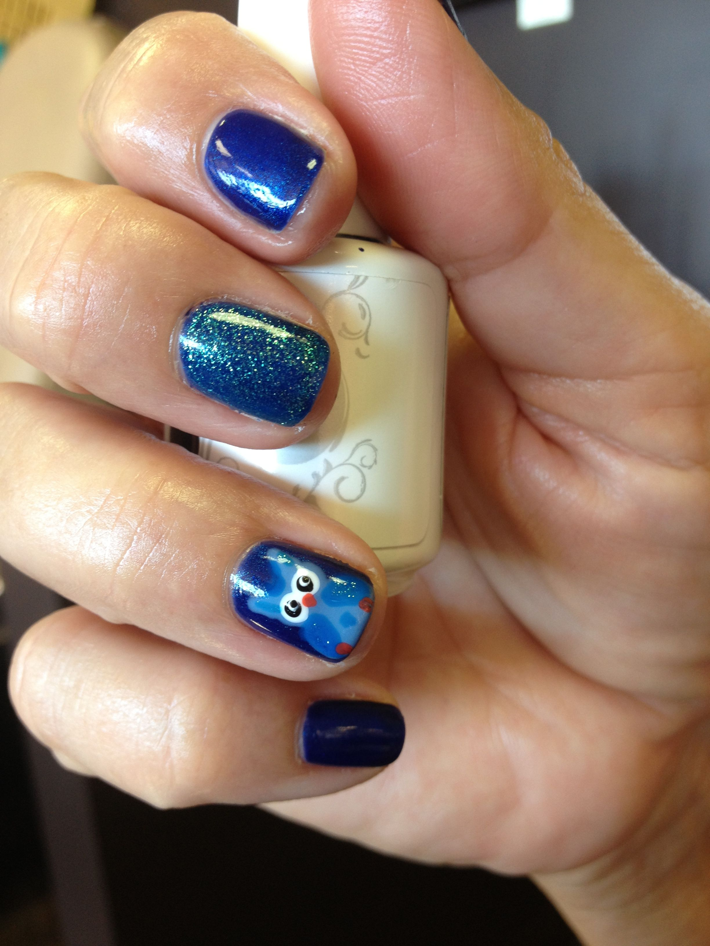 Gelish manicure with cute blue owl nail art for fall. :) | Nails ...