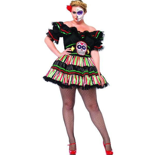 plus 2pc. day of the dead doll costume ($61) ❤ liked on Polyvore featuring costumes, multi, baby doll halloween costume, doll halloween costume, doll costume, babydoll costume and peasant costume