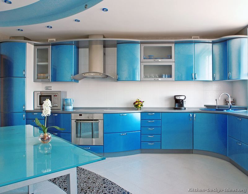 blue kitchen cabinets modern two tone paint living room design