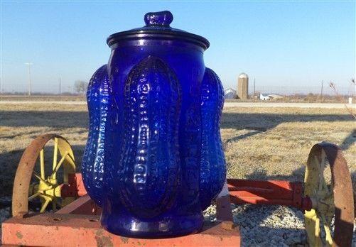Planters Peanut Glass Jar Cobalt Blue Mr Peanut Candy Cookie Jar Canister G Unbranded Blue Glassware Glass Jars Cobalt Glass