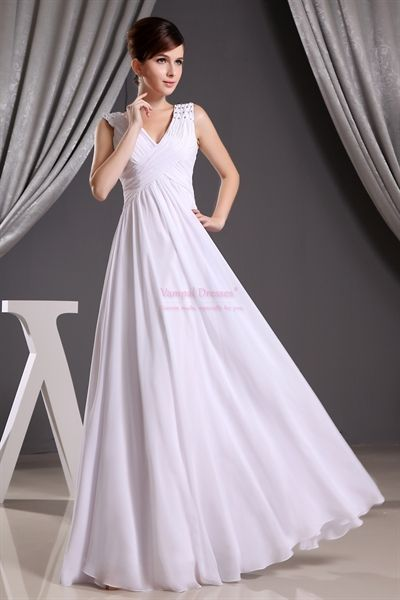 A Line V Neck Long Chiffon Prom Dress Long White Chiffon Prom Dress With Images Prom Dresses Canada White Bridesmaid Dresses Bridesmaid Dresses Canada