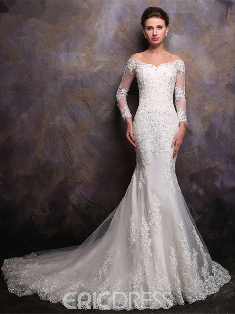 474df744556 Ericdress Beautiful Off The Shoulder Long Sleeves Mermaid Wedding Dress