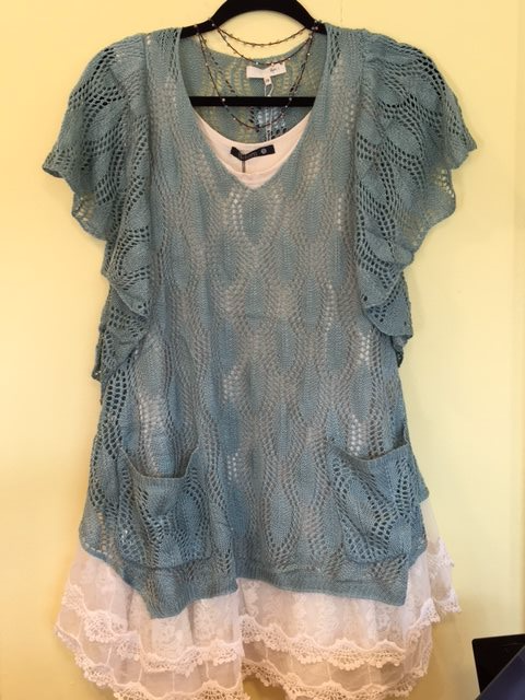 Check out one of the prettiest new tops at Shoppe five. Great with leggings or jeans.