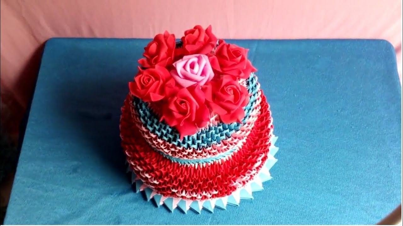 Origami 3d Birthday Cake Tutorial Lm Bnh Sinh Nht Giy 3d