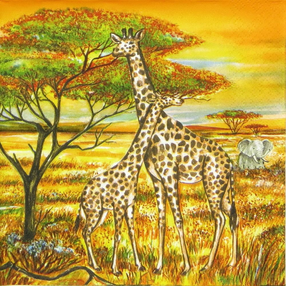 4x Designer PAPER NAPKINS for Decoupage AFRICAN AFRICA COLLAGE