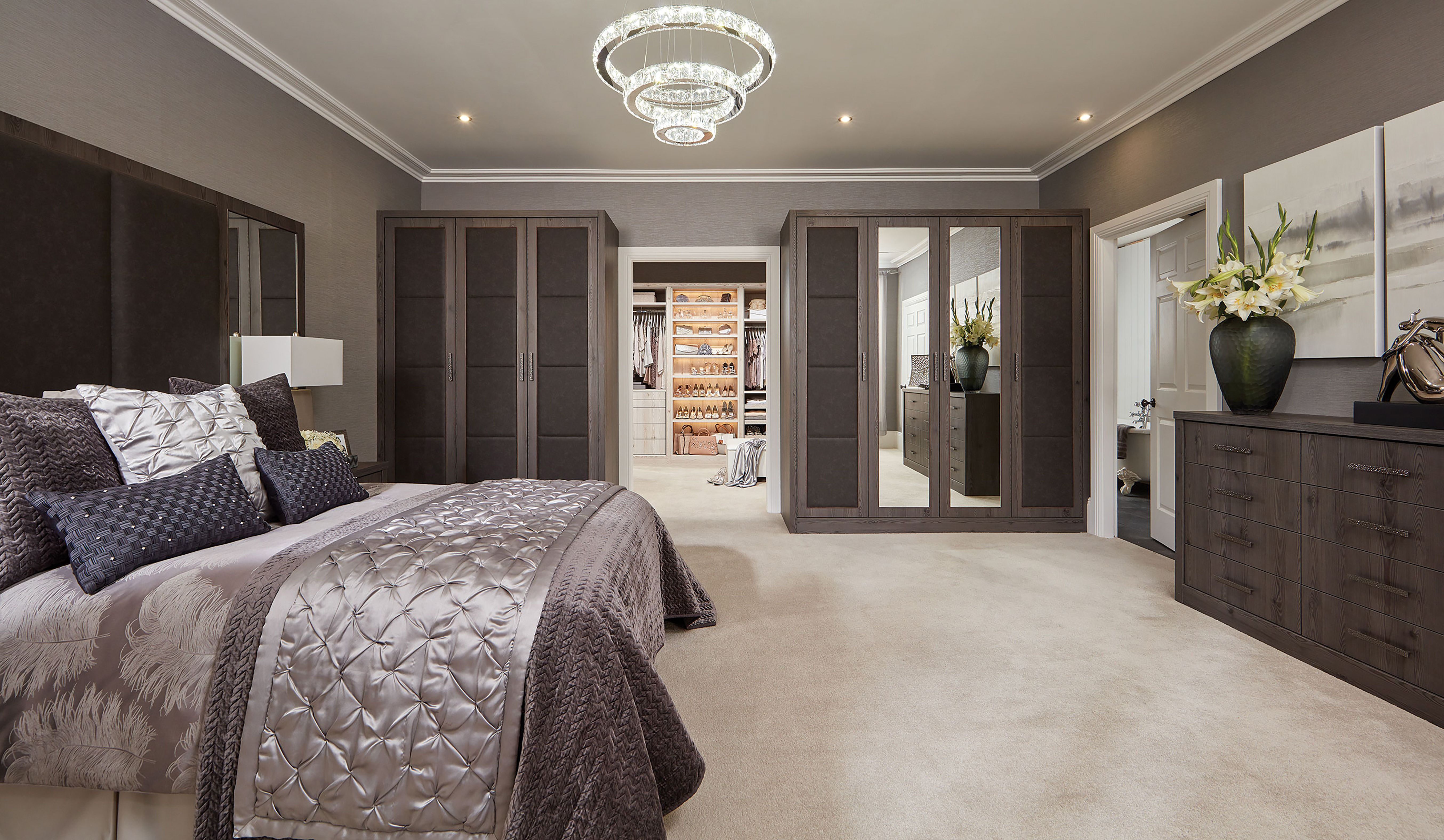 Luxurious bedroom furniture with built in dressing room and