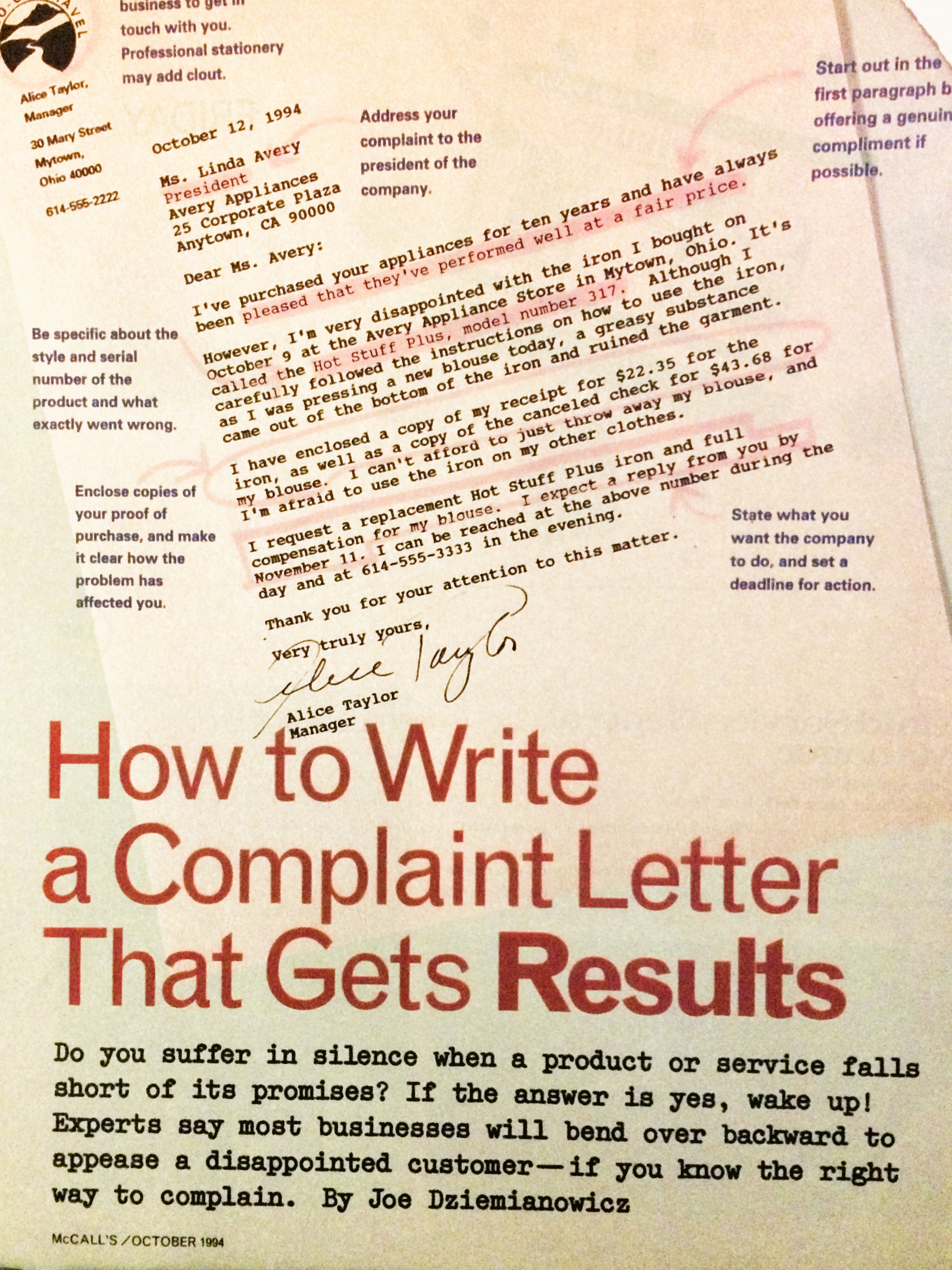 How To Write A Complaint Letter  Copy Bank Swip File