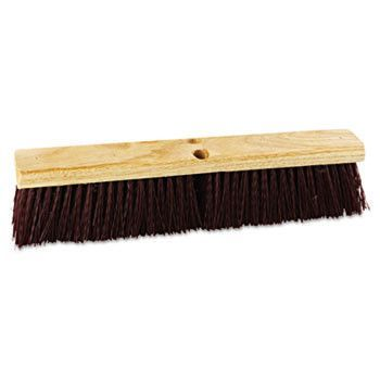 "Floor Brush Head, 18"" Wide, Maroon, Heavy Duty, Polypropylene Bristles"