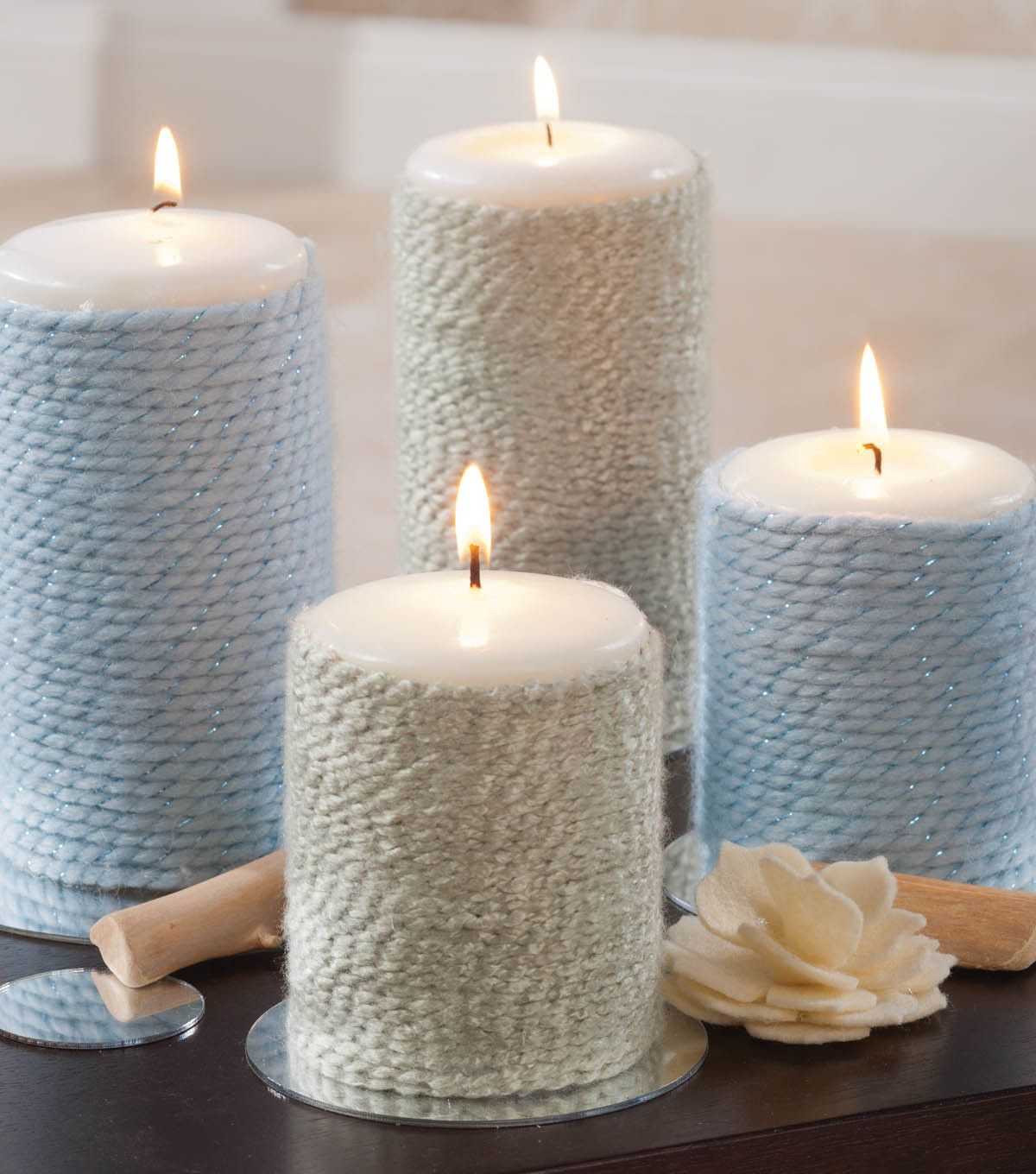 Pretty way to dress up plain candles with yarn for easy