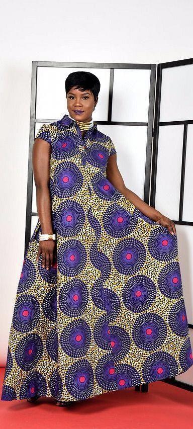 Dashki Fabric African Fashion Ankara Kitenge African: Purple-Kaftan Maxi Dress. Ankara
