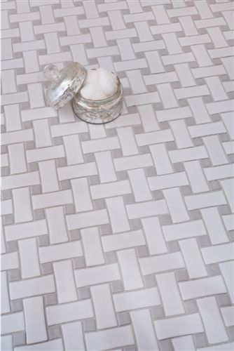 Mission Stone Tile Basket Weave Ceramic Glossy White Bathroom
