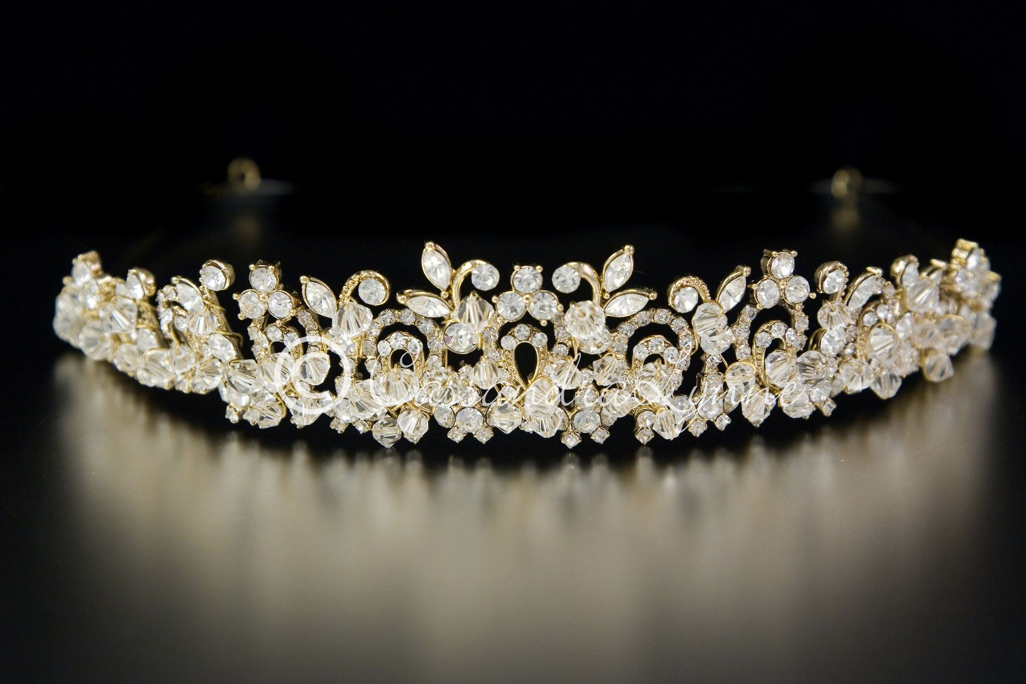 swarovski crystal wedding tiara with rhinestones in 14k gold
