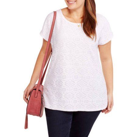 Faded Glory Women's Plus-Size Lace Front Tee, Size: 2XL, White
