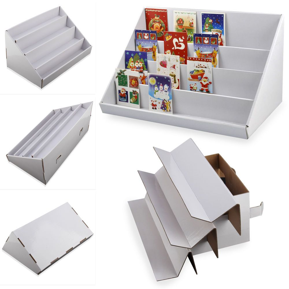 2pc 4 Tier Collapsible Cardboard Greeting Card Display Stand Counter