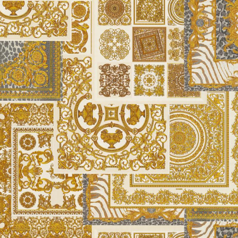 A striking montage metallic wallpaper design in cream/gold