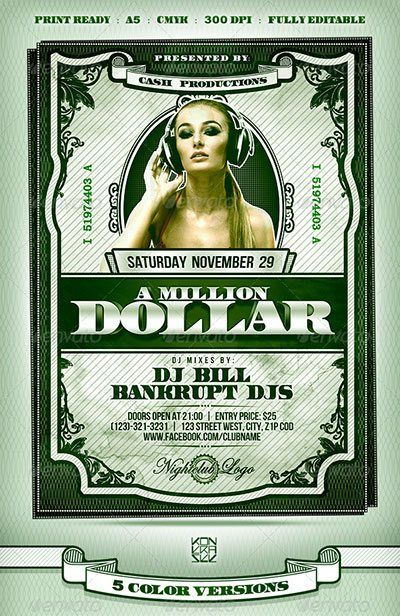 money club flyer money dollar party money rain make money flyer
