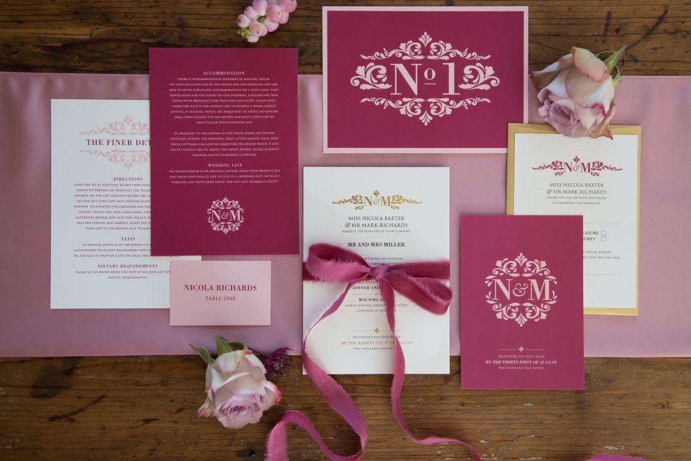 Oyster and Pearl Design. Elegant Initials Wedding Stationery Range ...