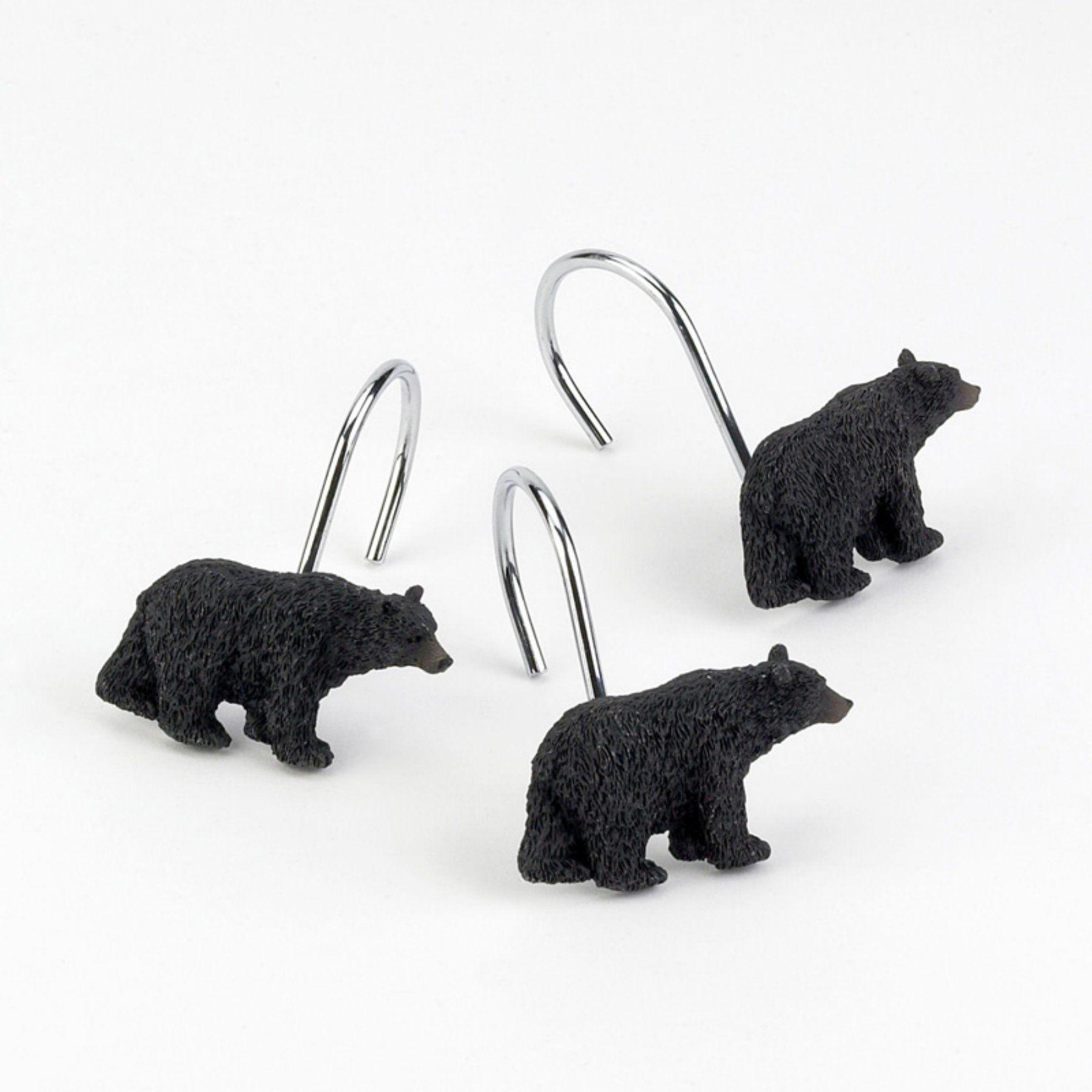 Avanti Linens Black Bear Lodge Shower Curtain Hooks Set of 12