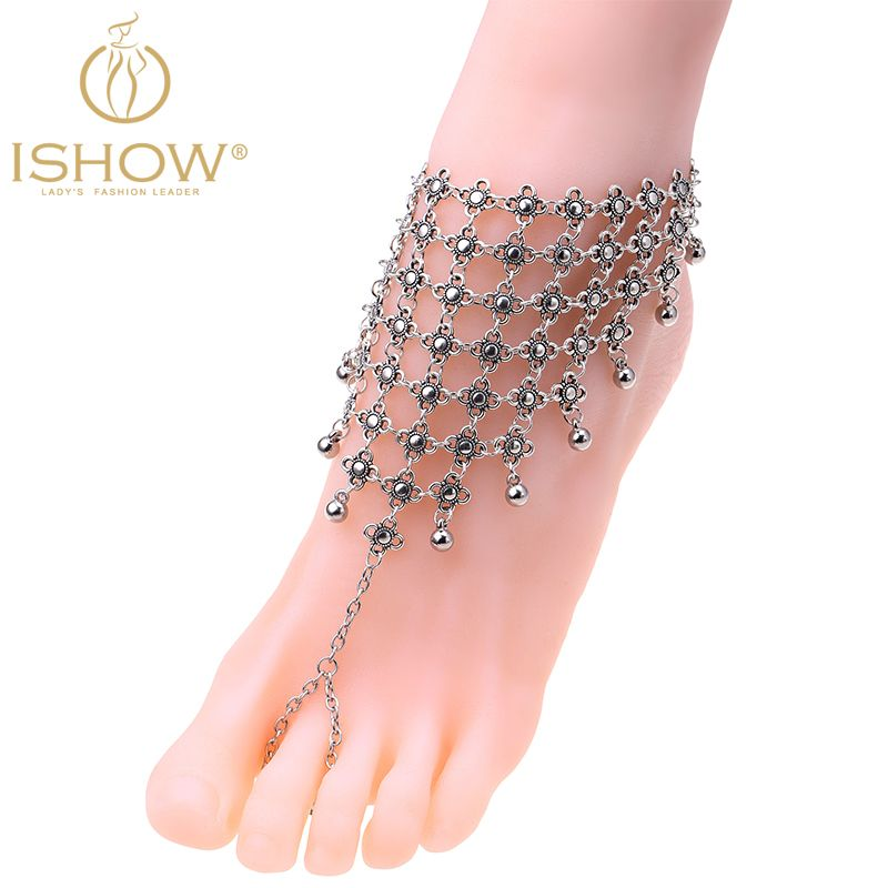 Fashion ankle bracelets for women wedding barefoot sandals silver