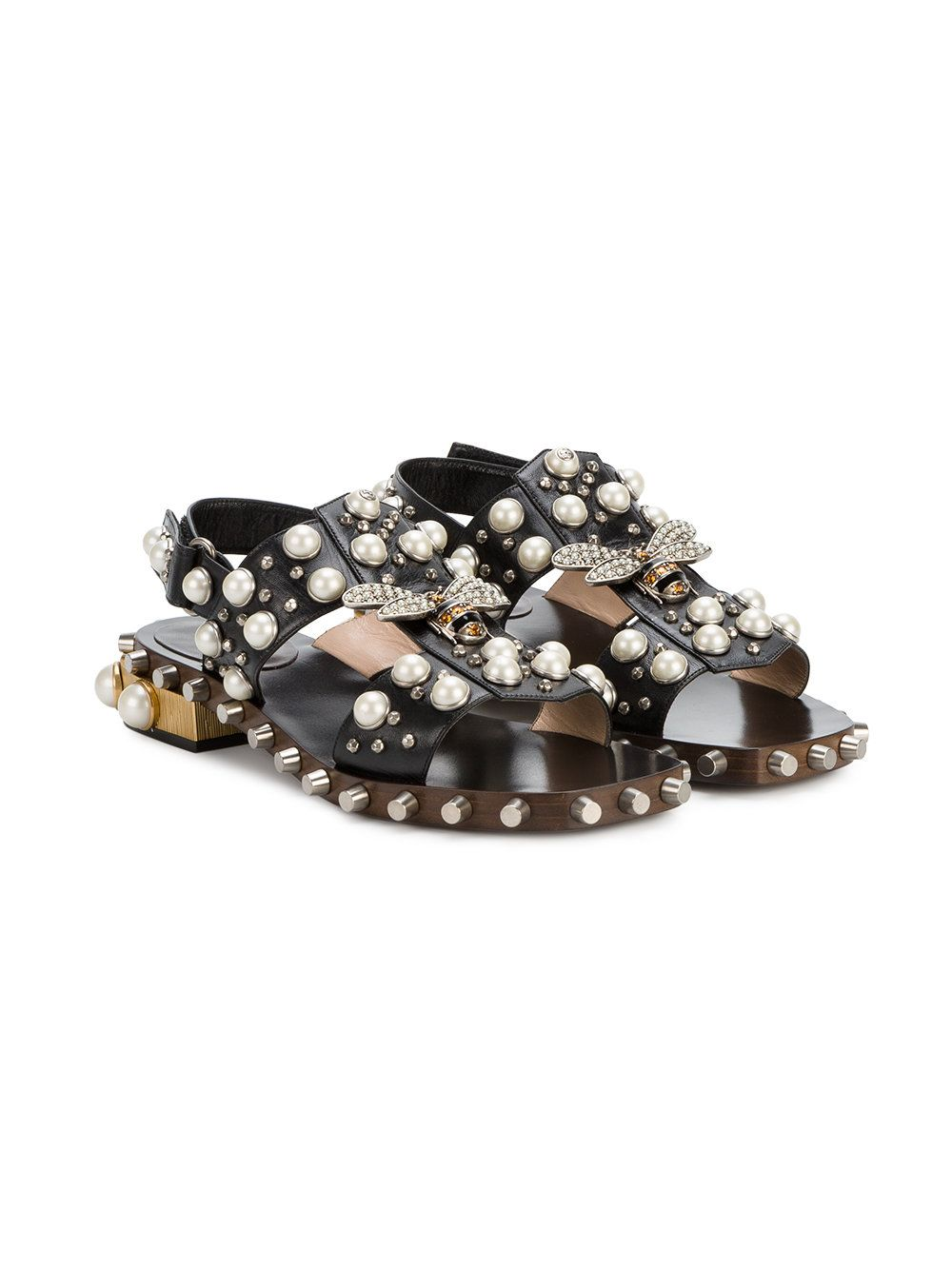 Gucci pearl and crystal studded sandals