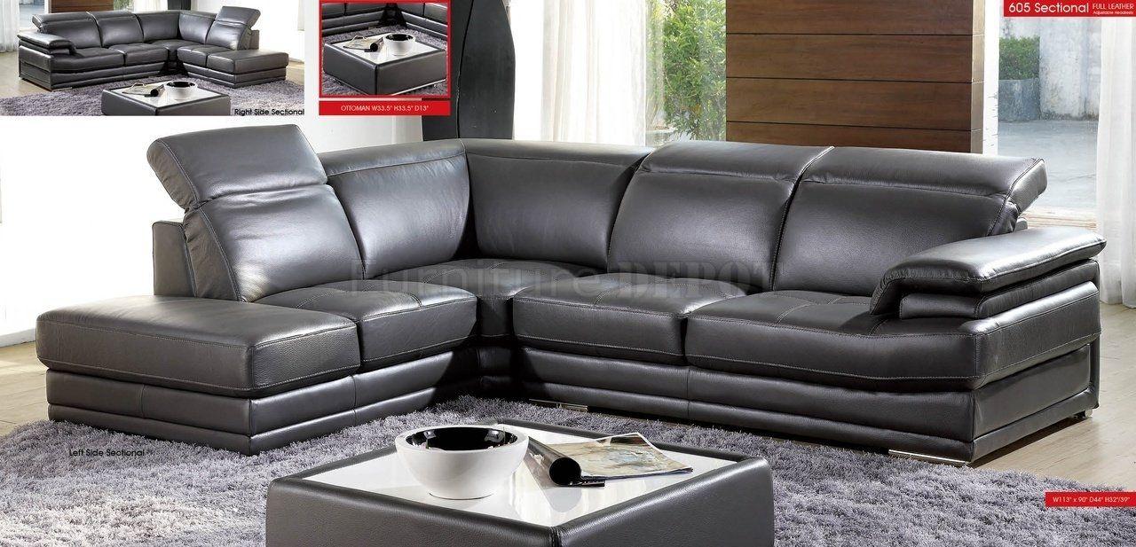 Dark Grey Leather Sectional Sofa Sofa De Cuero Gris Cama De Cuero Sofas De Cuero