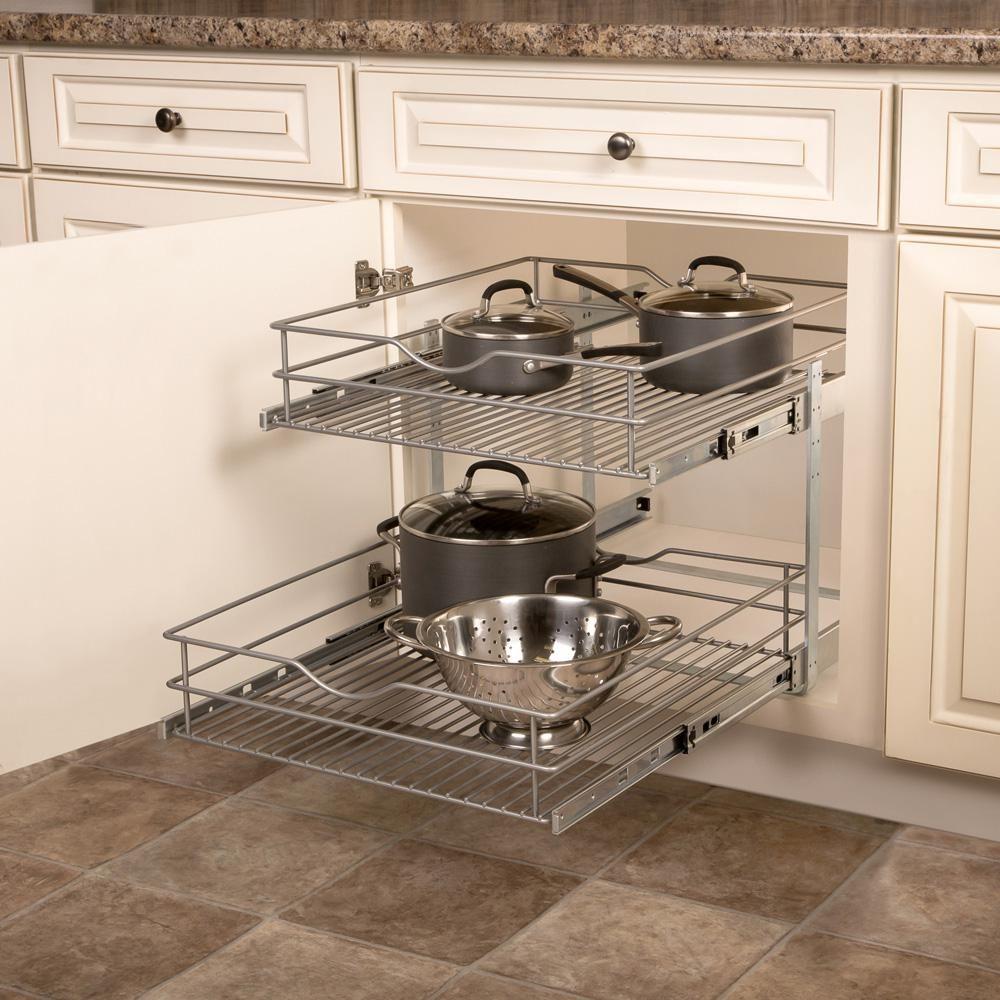 20 625 In W X 21 75 In D X 16 25 In H Double Tier Pull Out Multi Use Basket Cabinet Organizer Small Kitchen Decor Cabinet Organization Cabinets Organization