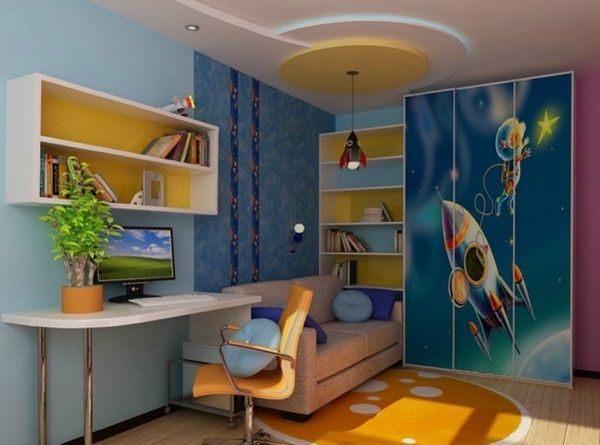Kinderzimmer Komplett Gestalten U2013 Wenn Junge Und Mädchen Einen Raum Teilen  Müssen   Kinderzimmer Komplett Wanddekoration Rakette Und Astronaut  Babyroom ...