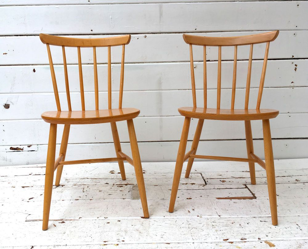 Retro Style Chairs 2 X Vintage Retro Mid Century Blonde Dining Chairs Danish Ercol