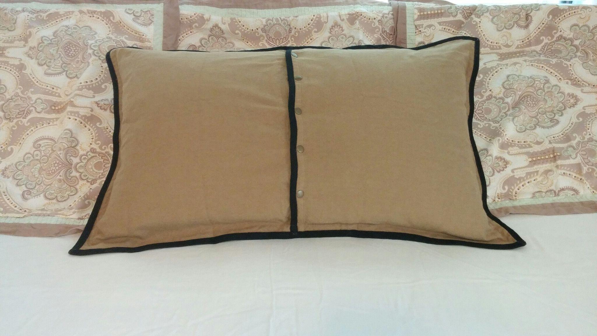 Pillow Sham Lauren #Ralph Lauren Green Label King Size Reversible 100% Cotton Tan Solid Color with 5 snap closure