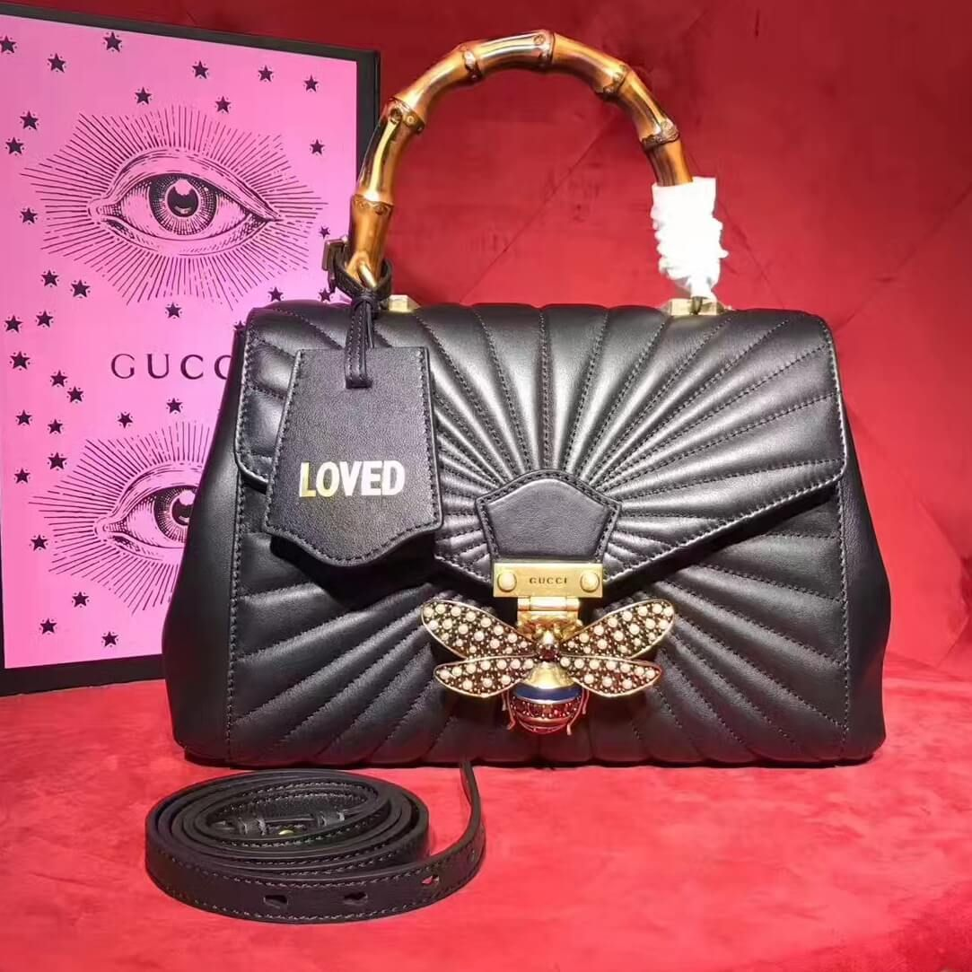 8b2e502abd1e Gucci Queen Margaret Quilted Leather Bamboo Top Handle Bag 476531 Black 2017