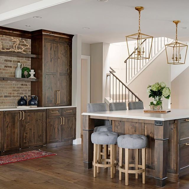 Knotted Oak Kitchen Cabinets: The Knotty Alder Kitchen Island And Adjacent Bar Cabinets