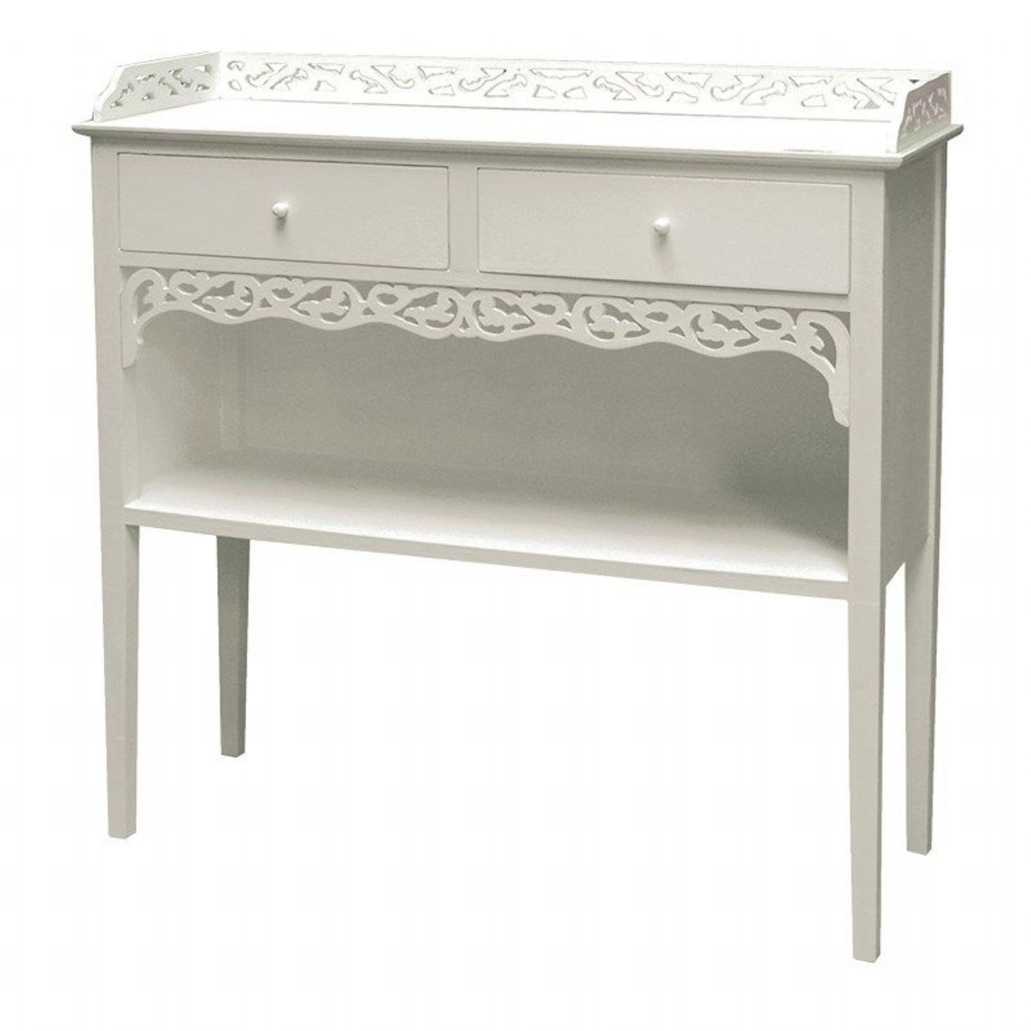 White Painted Shabby Chic Belgravia 2 Drawer Small Hall Console Table