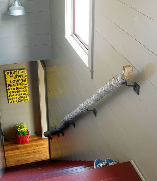 A log handrail for the staircase!