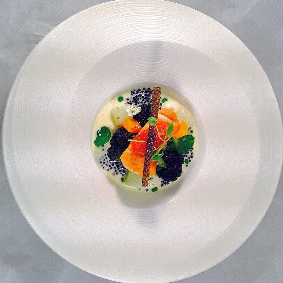 Over head shot of....Salmon with green winter veg and cream of caviar sauce with crips salmon skin and spicy tomato chutney..#Caribbeanculinarycollective #topcaribbeanchef #gastroart #theartofplating #chefstalk #chefsofinstagram #chefsroll #thefeedfeed #beautifulcuisinesj by chefjasonhoward