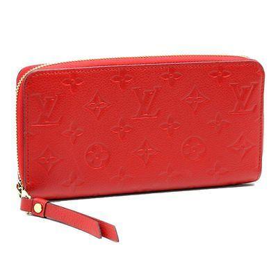 Authentic LOUIS VUITTON Zip Around Wallet M60737 Empreinte Leather Cerise/47647