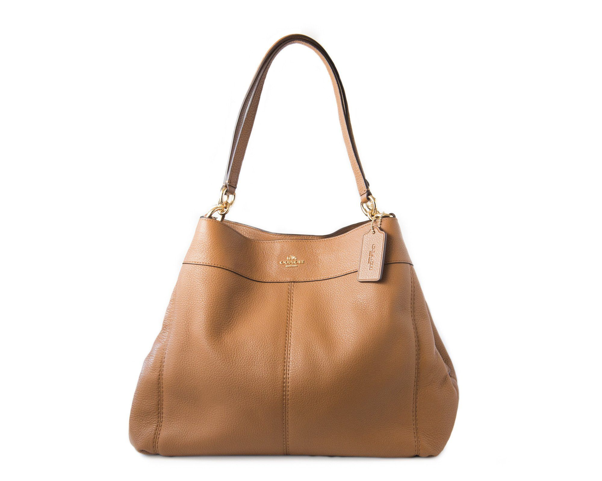 5c845668305 Lexy Shoulder Bag In Pebble Leather (Coach F57545) Imitation Gold Saddle