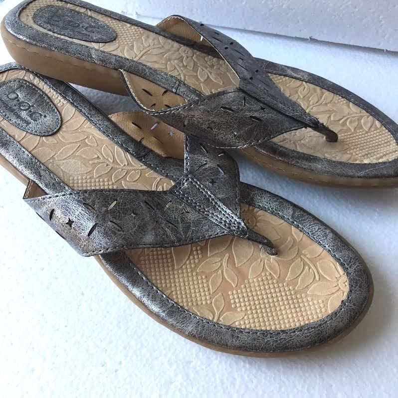 969c0c48f Born Sandals Women 11 Silver Pewter Leather T Strap In 2018 Born