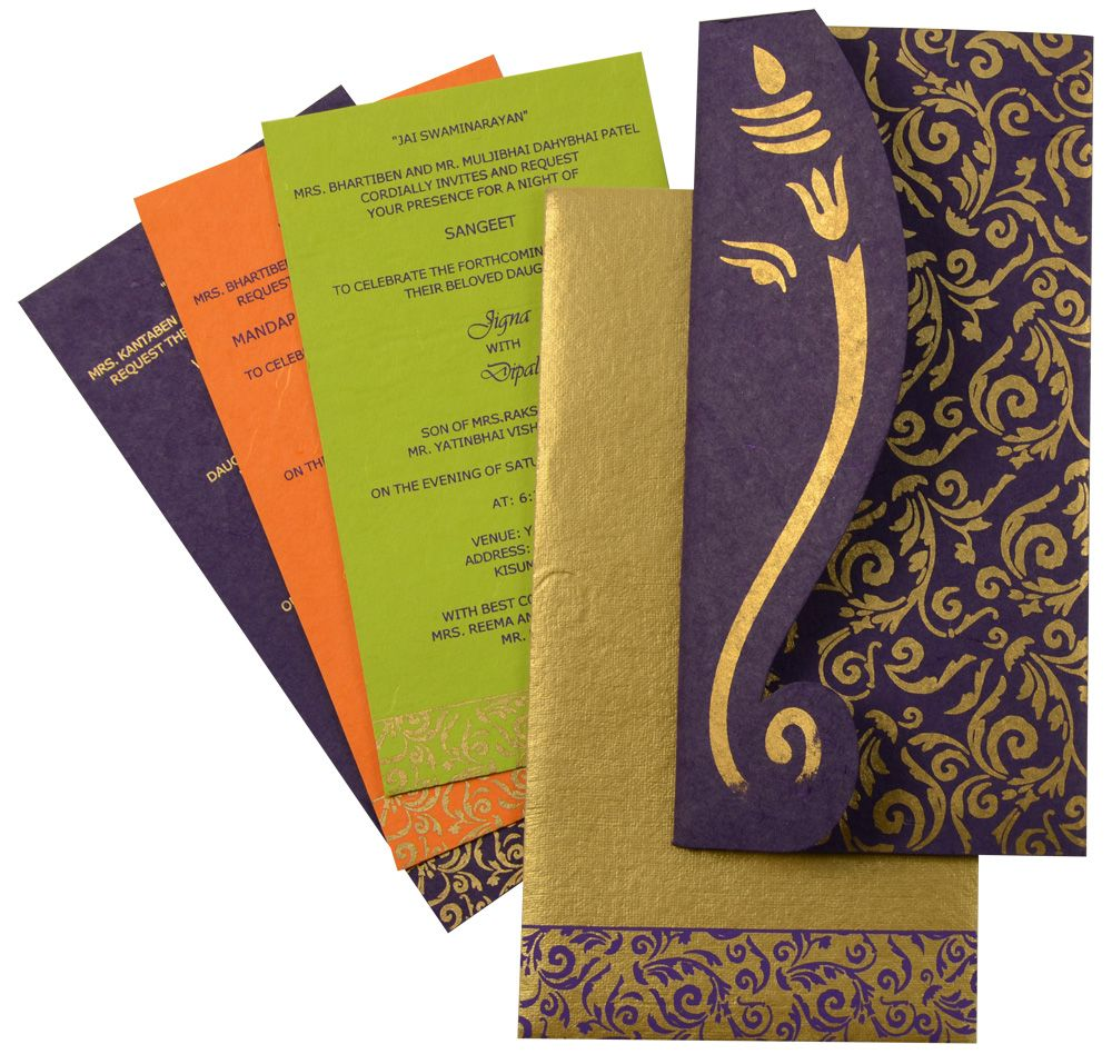 D 6280 Purple Color Shimmery Finish Paper Handmade Paper Hindu Cards Hindu Wedding Cards Indian Wedding Invites Design Indian Wedding Invitation Cards
