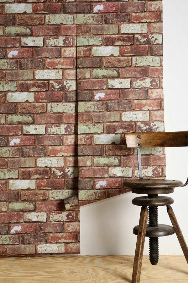 backstein tapete landhausstil wanddeko ideen Einrichtung Pinterest - einrichtung ideen landhausstil