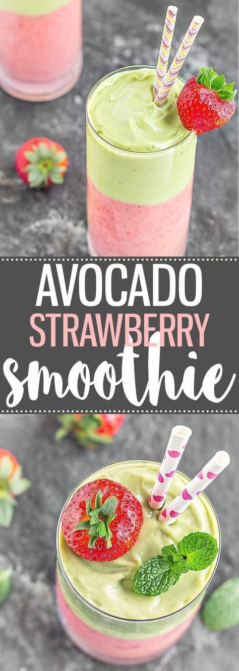 Strawberry Layered Smoothie A creamy, refreshing, and delicious Avocado Strawberry Layered Smoothie. Great for breakfast, as a pre-workout snack, or even as a dessert!A creamy, refreshing, and delicious Avocado Strawberry Layered Smoothie. Great for breakfast, as a pre-workout snack, or even as a dessert!