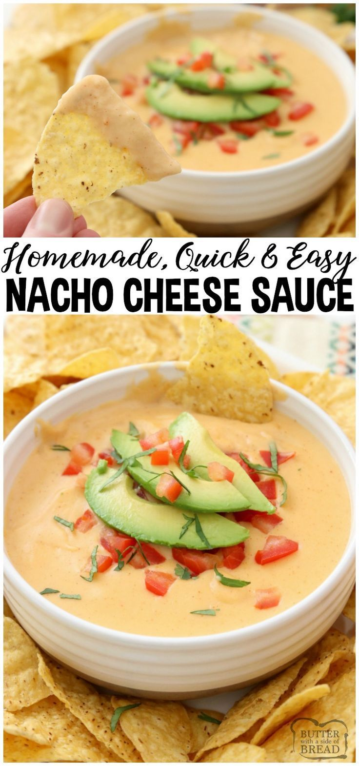 Easy Nacho Cheese sauce recipe with only 4 ingredients and is made in minutes! Smooth, creamy with